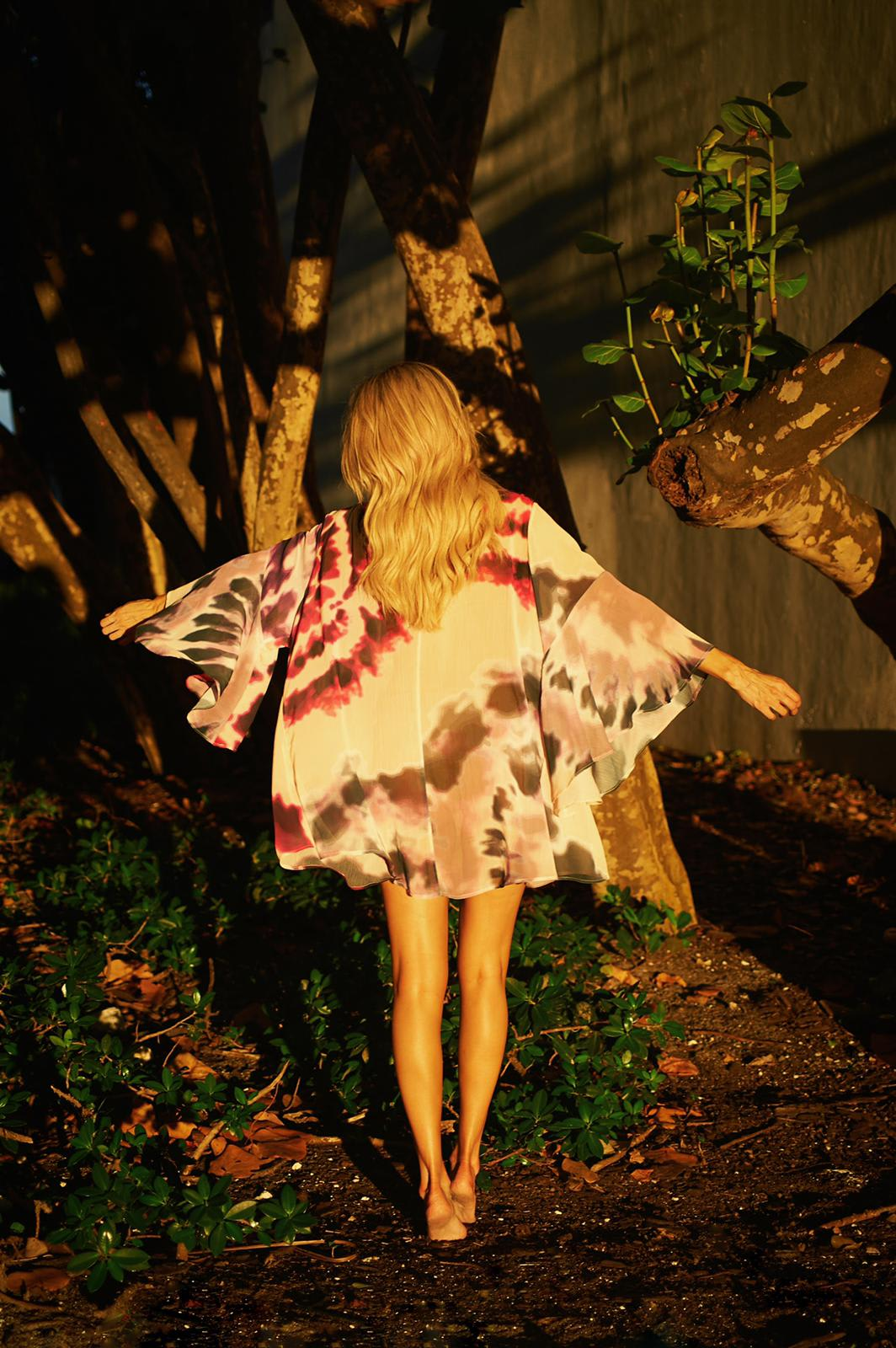 Nomade Kimono in Pink Tie-Dye - Pink - Back
