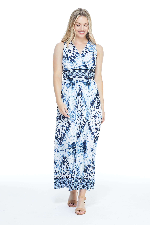 Ikat Pattern Mesh Maxi Dress - White/Blue - Front