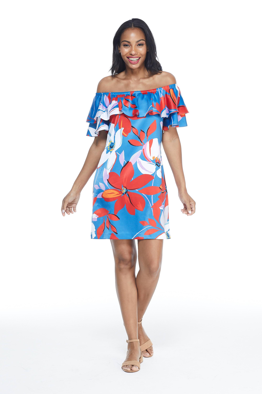Large Floral Short Sundress - Red/Blue - Front
