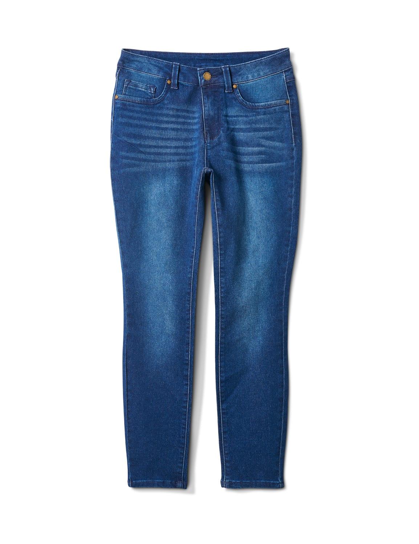5 Pocket Dark Wash Skinny Ankle Jean - Dark Wash - Front