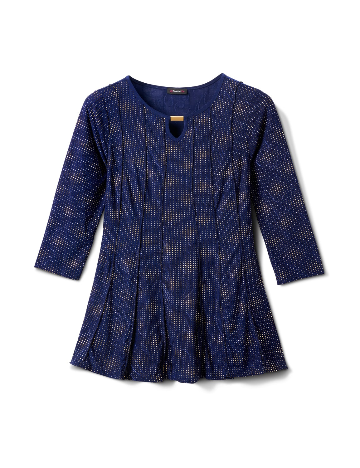Gold Foil Fit And Flare Knit Top - Navy/Gold - Front
