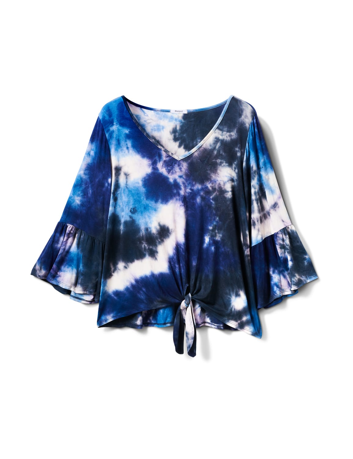 V-neck Tie Dye Tie Front Knit Top - Plus - Navy - Front