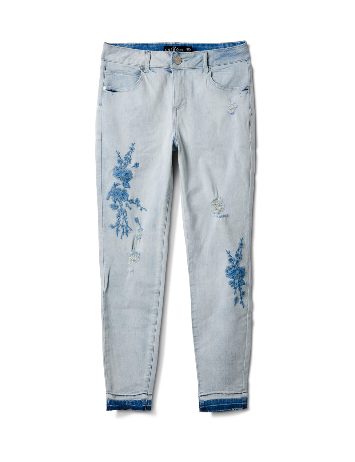 Mid Rise Skinny Jean With Embroidery On The Leg - Bleach - Front