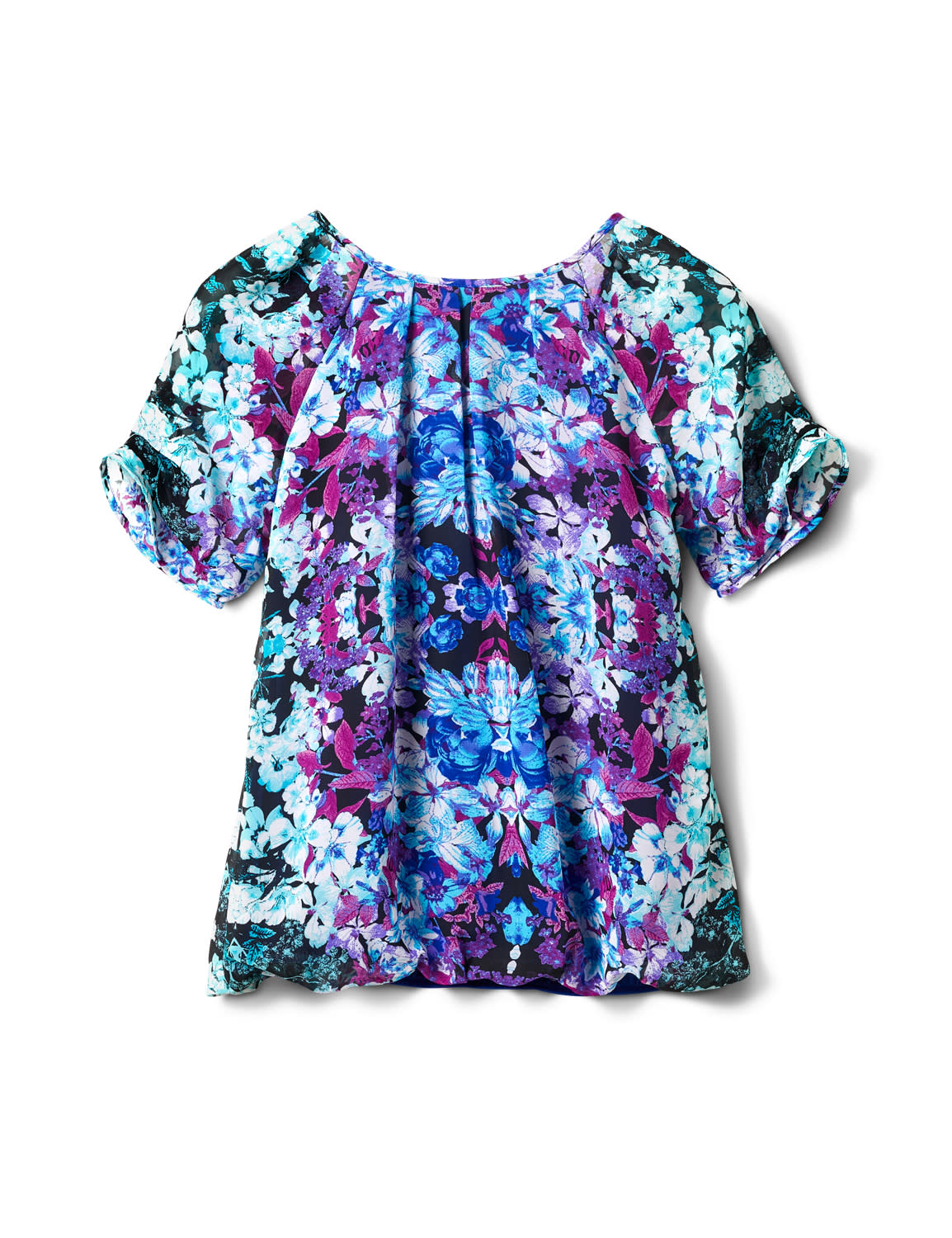 Pleat Sleeve Placement Print Bubble Hem Blouse - Purple/Turq/Blk - Back