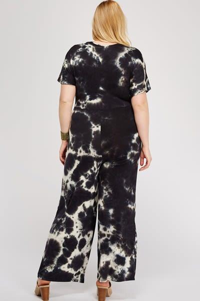 Tie Dye Jumpsuit Front Twist Detail - Black / White - Back
