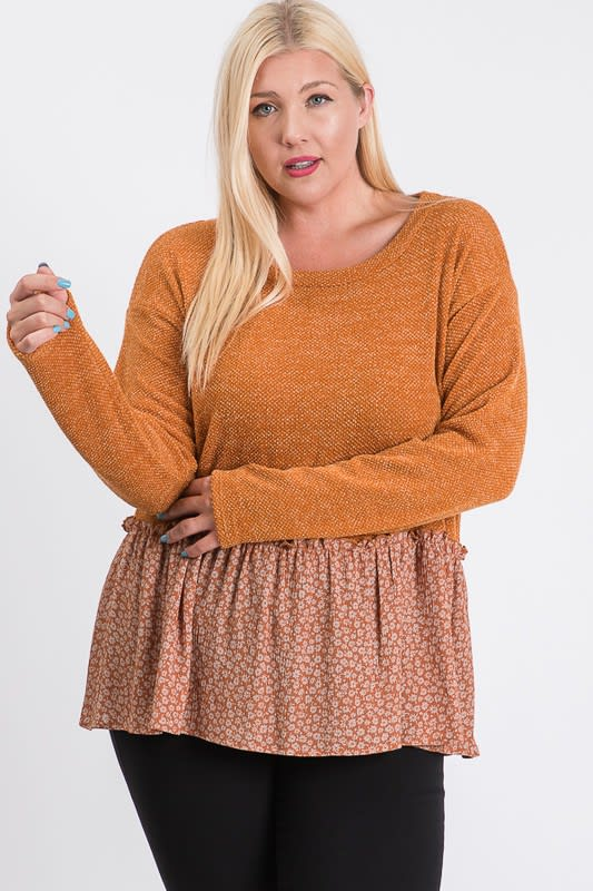 Top With Floral Contrast - Rust - Front