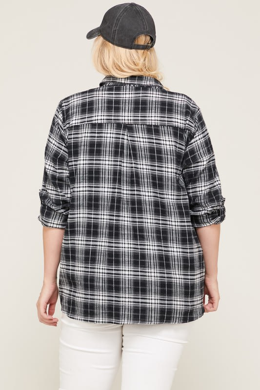 B&W Checkered Flannel Shirt - Black / White - Back