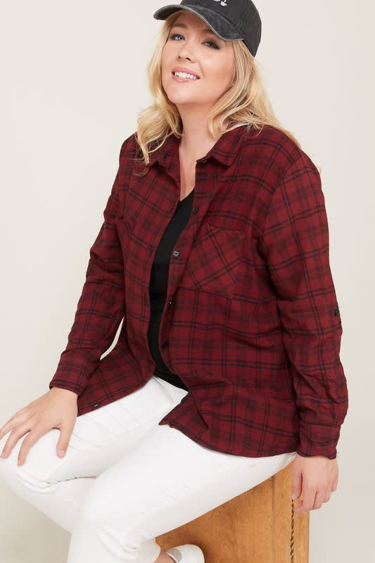 Burgundy Checkered Flannel Shirt - Burgundy - Front