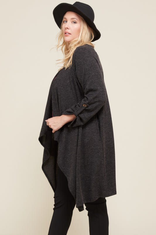 Plus Long Sleeve Cardigan - Black - Front
