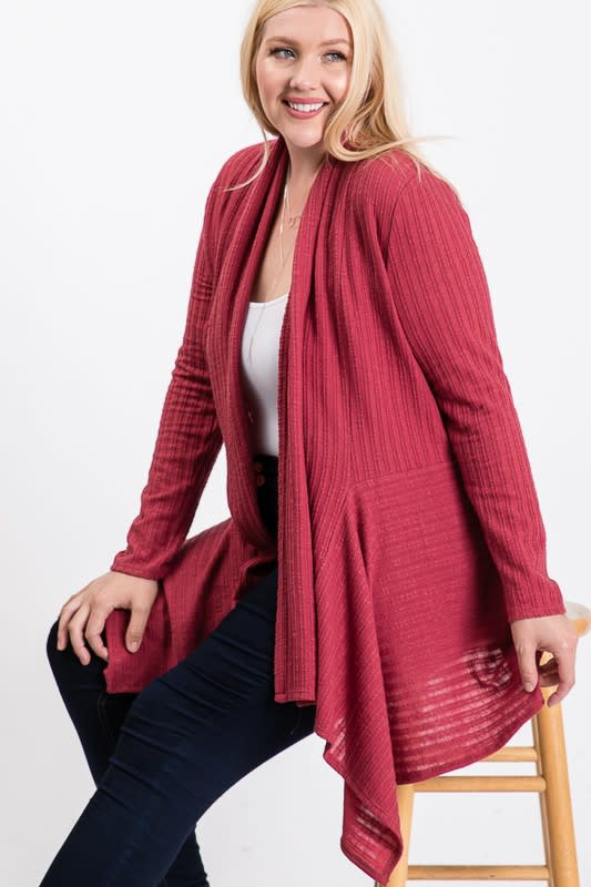 Double Knit Open Cardigan - Marsala - Back