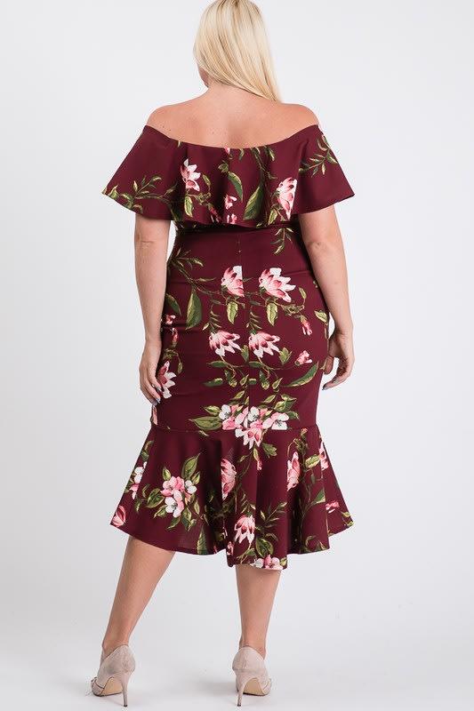 Floral Ruffled Sexy Dress - Burgundy - Back