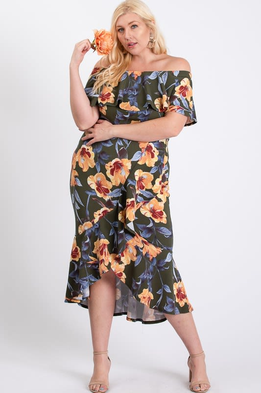 Floral Ruffled Sexy Dress - Olive - Back