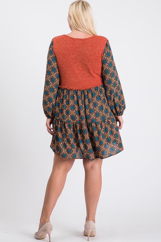 Cozy In-Style Long Sleeve Dress - Rust - Back