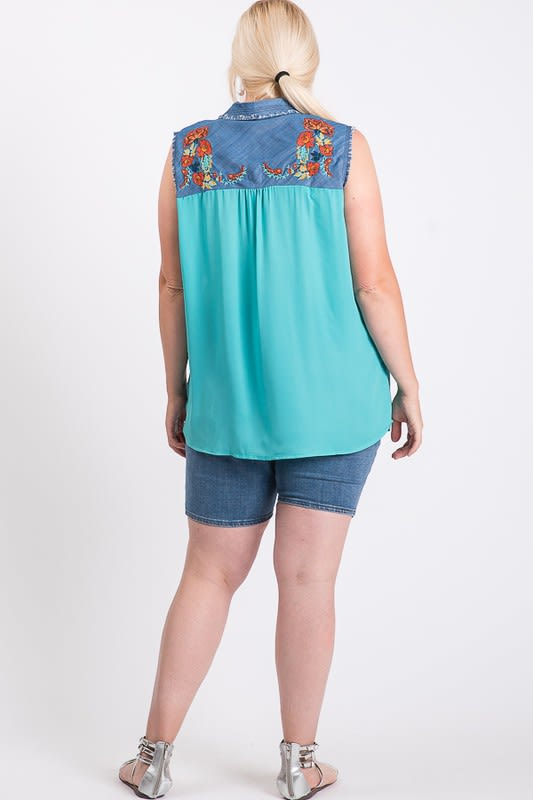 Embroidered Denim Casual Sleeveless Top - Mint Combo - Back