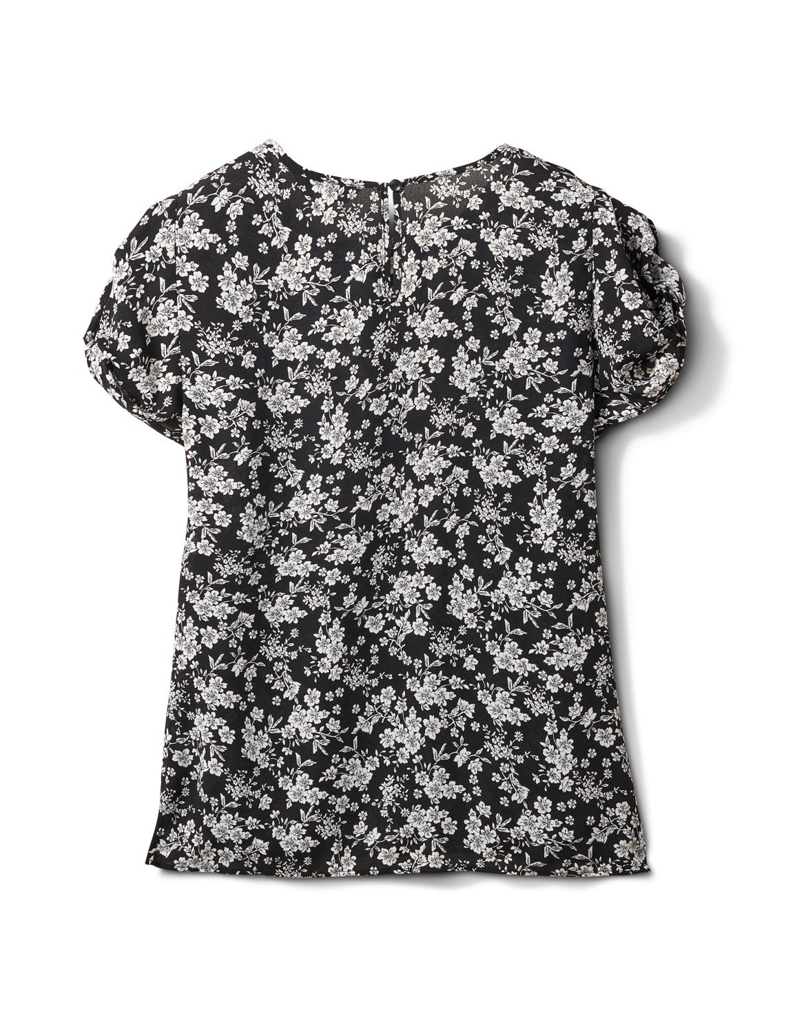 Keyhole Back White and Black Floral Blouse - White Black Floral - Back