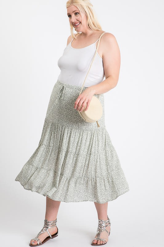 Floral Summer Skirt - Sage Multi - Front