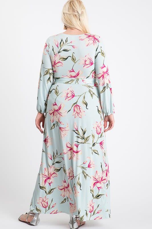 Twirl-In Maxi Wrap Dress - Mint - Back