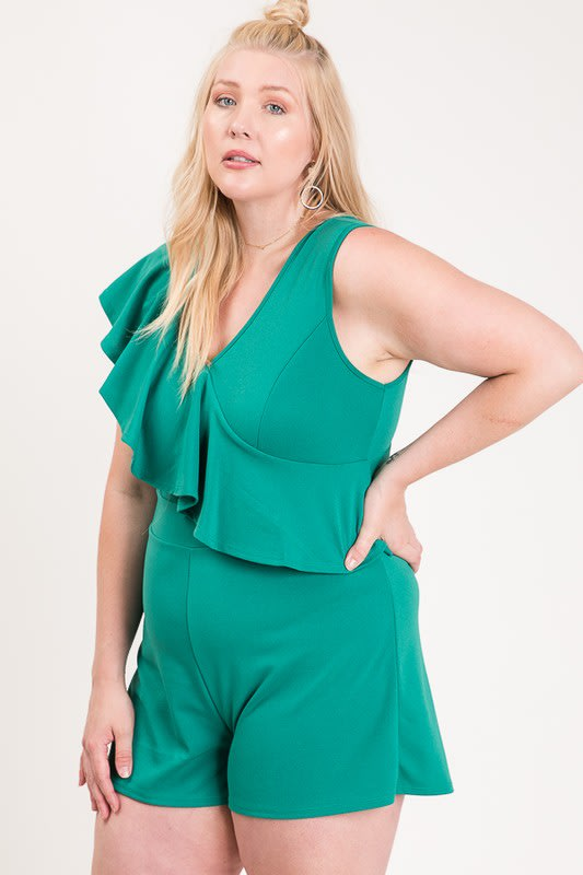 Ruffle Sleeveless Romper - Green - Front