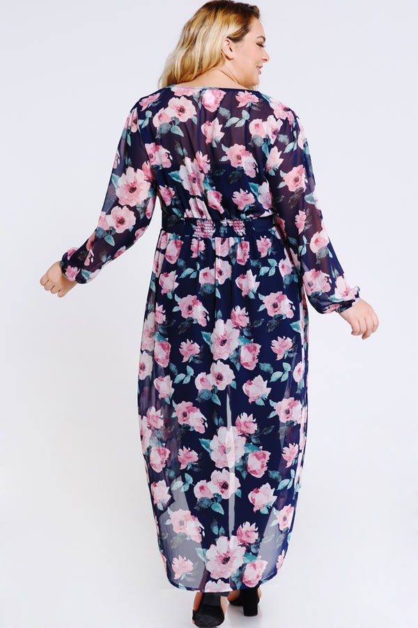 Steal the Looks Floral Dress - Navy - Back