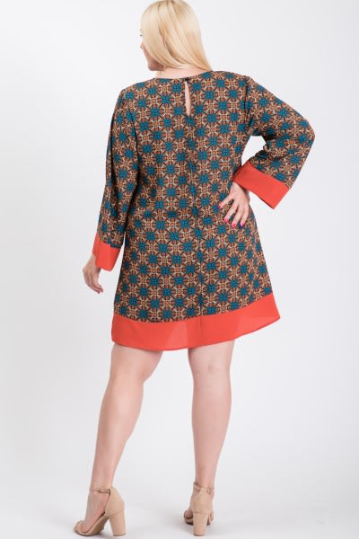 Patterned Free Style Dress - Rust - Back