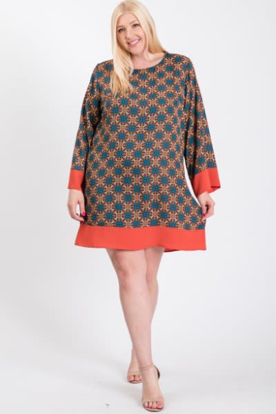 Patterned Free Style Dress - Rust - Front