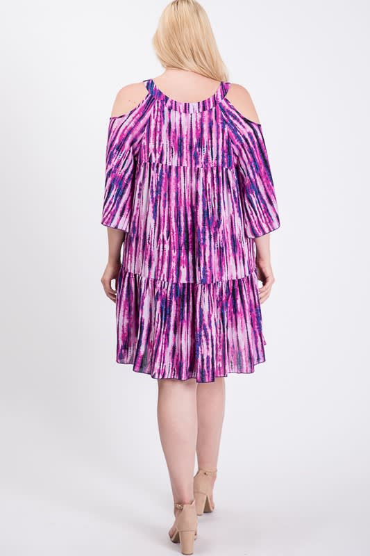 Tie Dye Colorful Dress -  - Back