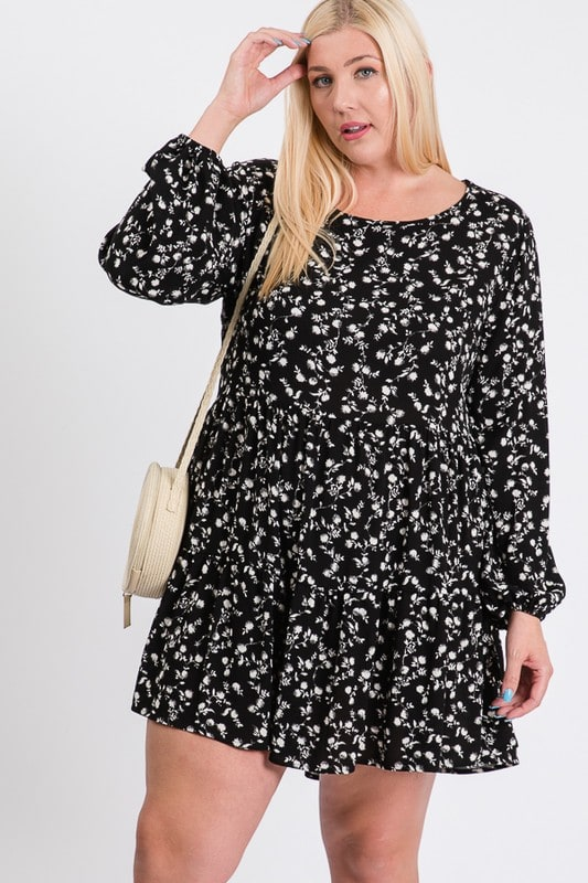 Summery Floral Dress - Black / Ivory - Front