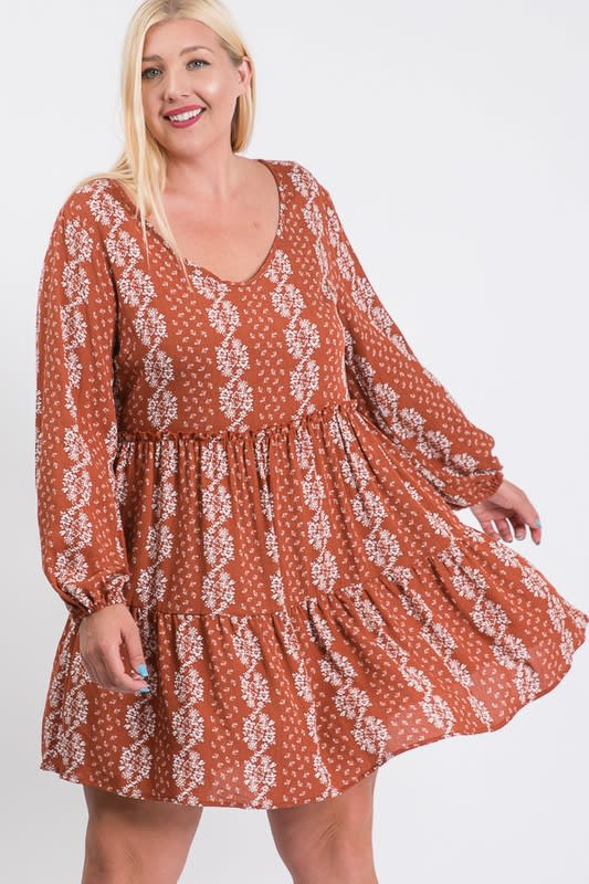 Summer Essential Flowy Dress - Rust / Cream - Front
