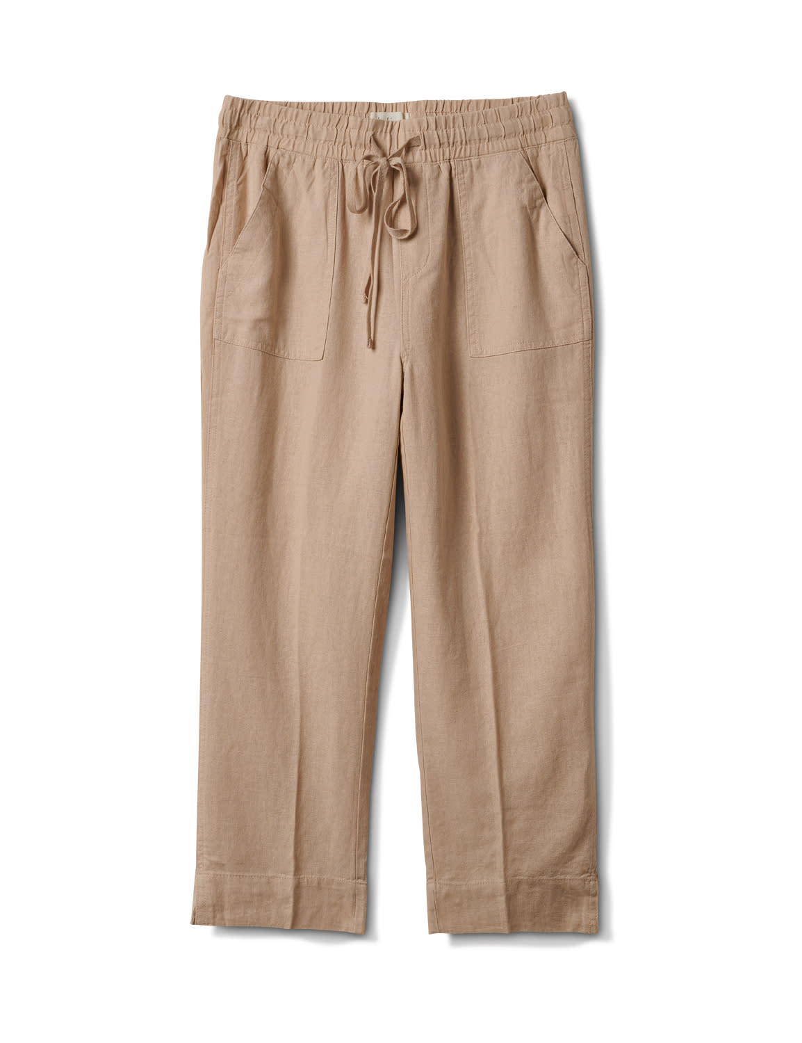 Drawstring  Waist Pull On Crop Pant With Pockets - Natural - Front