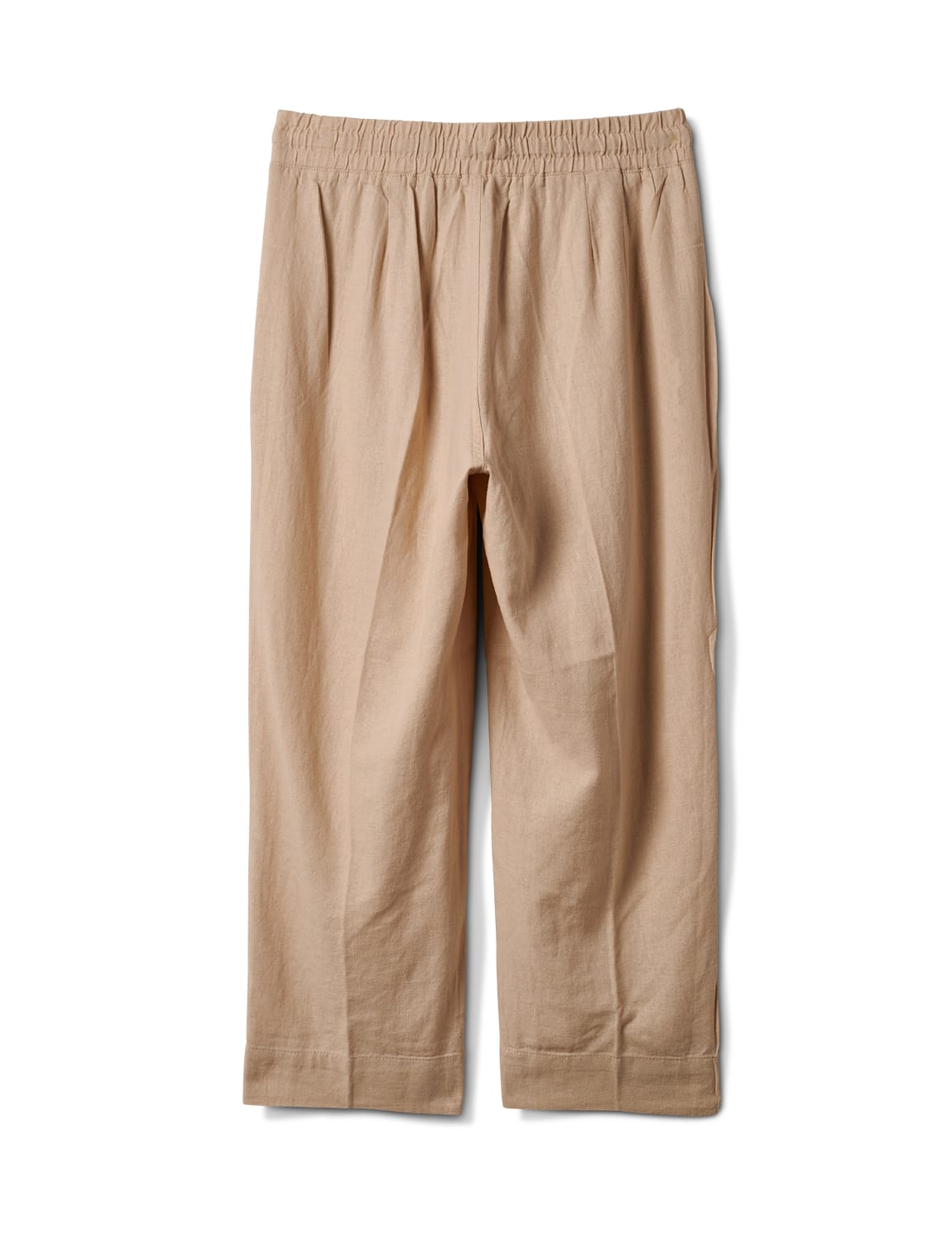 Drawstring  Waist Pull On Crop Pant With Pockets - Natural - Back