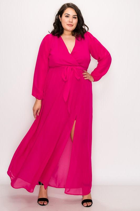 To Wow Maxi Dress - Fuchsia - Front