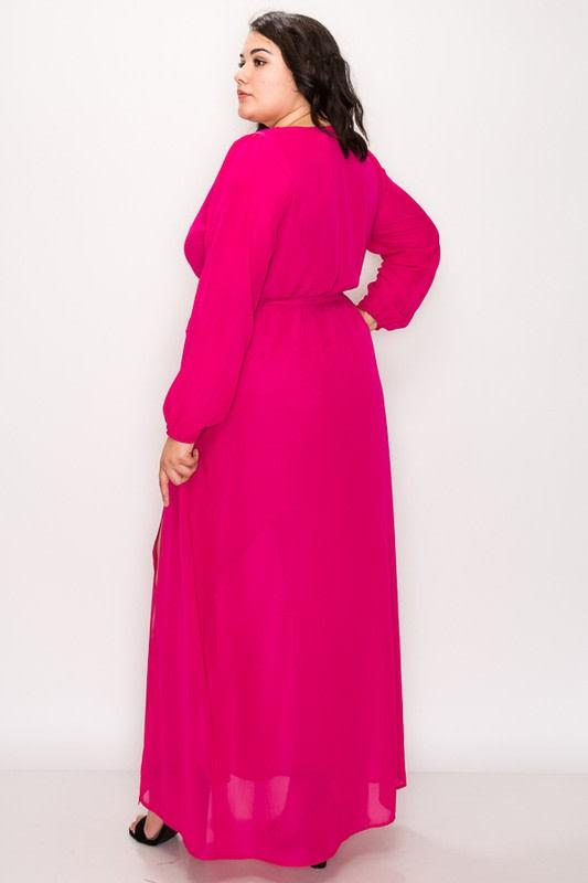 To Wow Maxi Dress - Fuchsia - Back