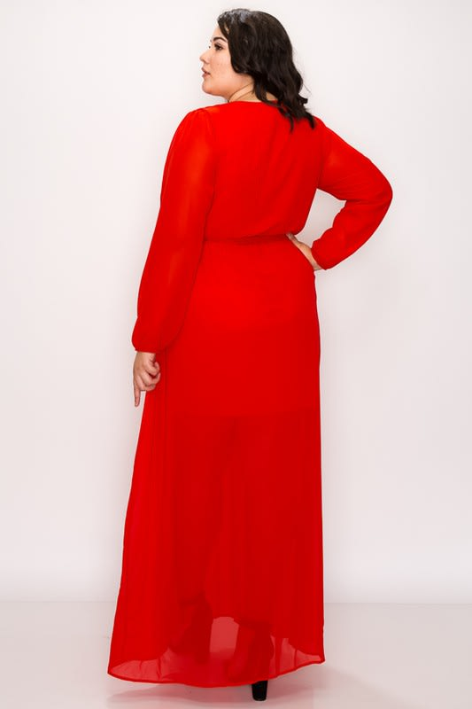 To Wow Maxi Dress - Red - Back