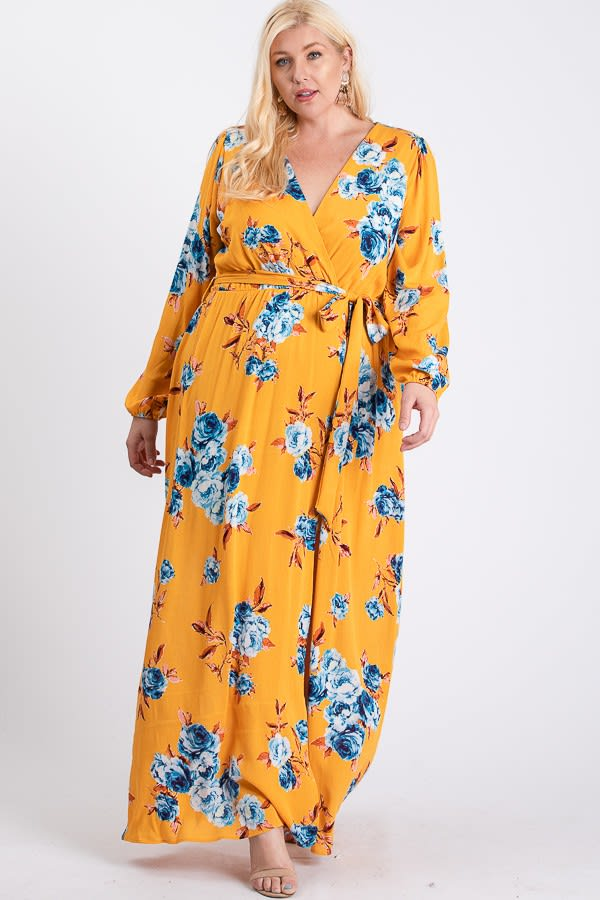 All-Flower Printed Maxi Dress -  - Back
