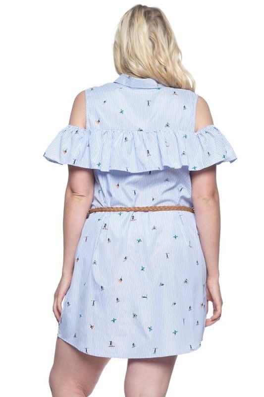 Ruffle Cold Shoulder Shirt Dress - Blue - Back