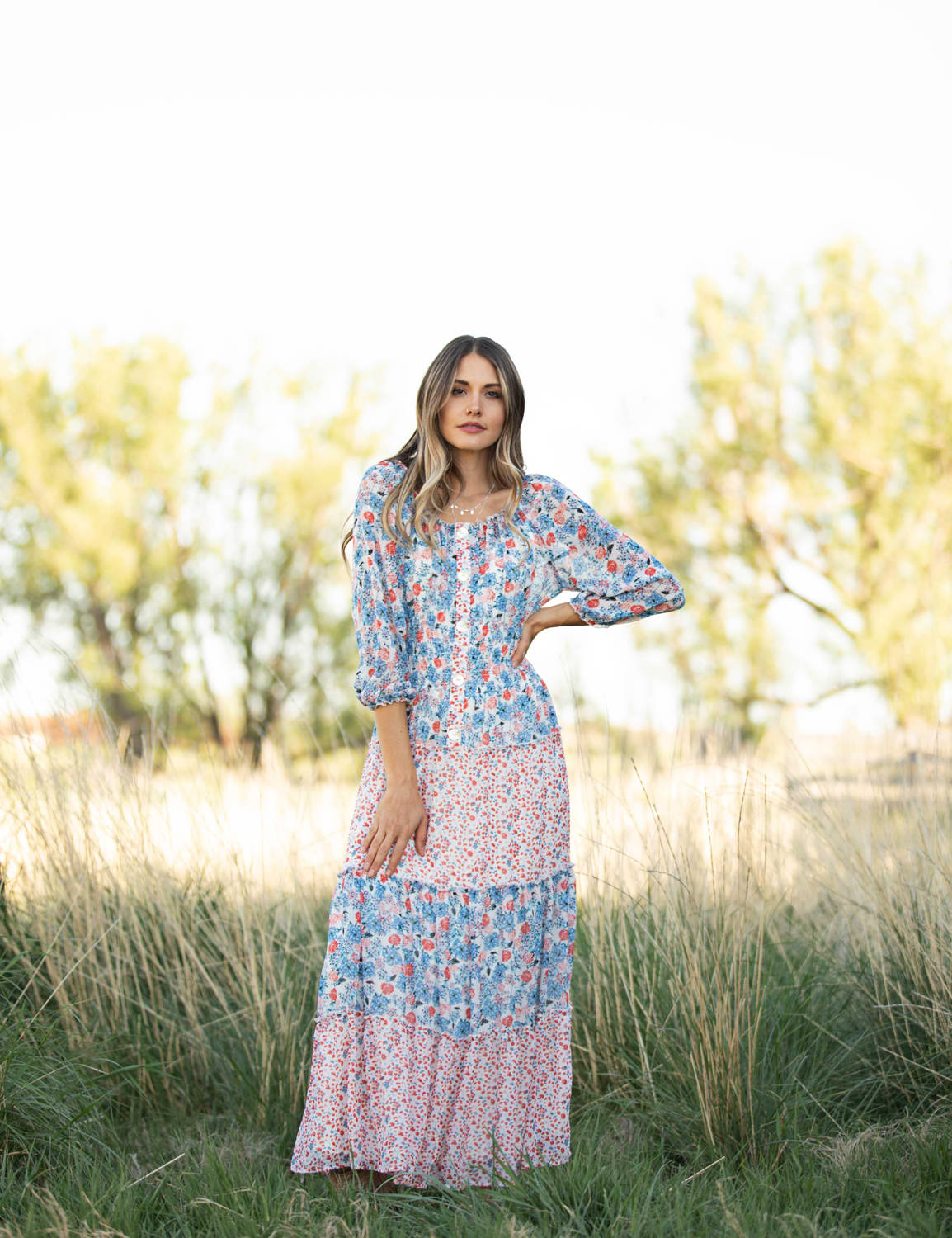 Floral Mixed Media Tiered Maxi Dress - Red/Blue - Front