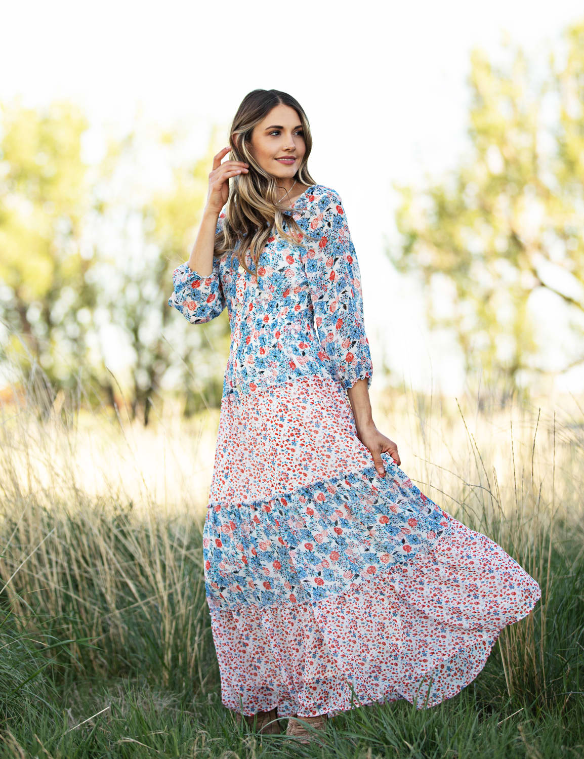 Floral Mixed Media Tiered Maxi Dress - Red/Blue - Detail
