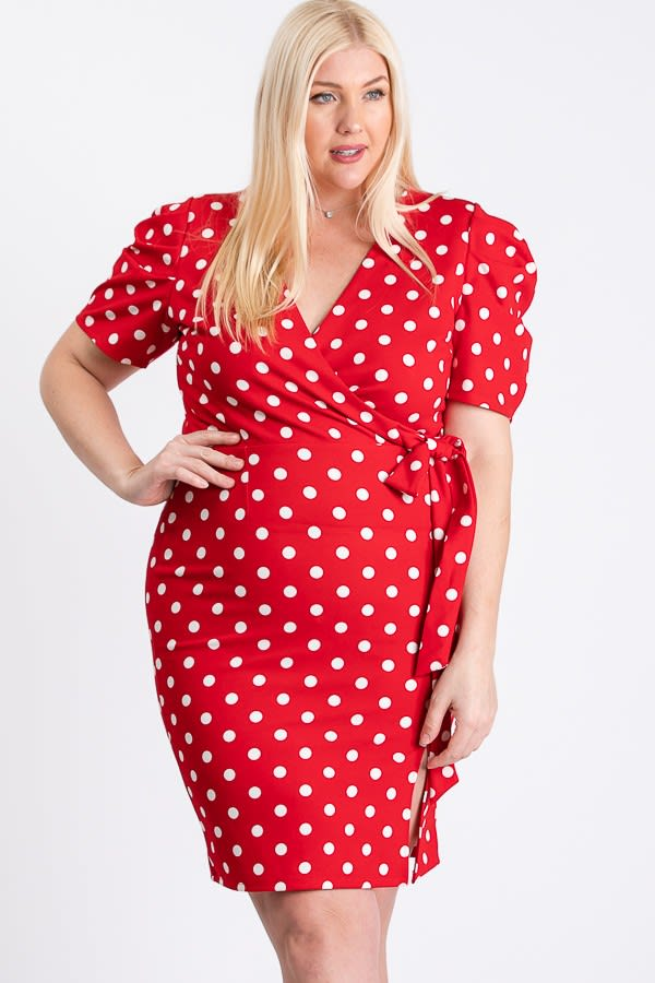 Polka Dot Wrap Dress - Red / White - Front
