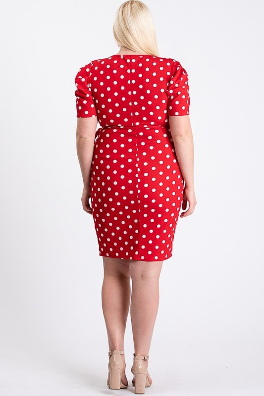 Polka Dot Wrap Dress - Red / White - Back