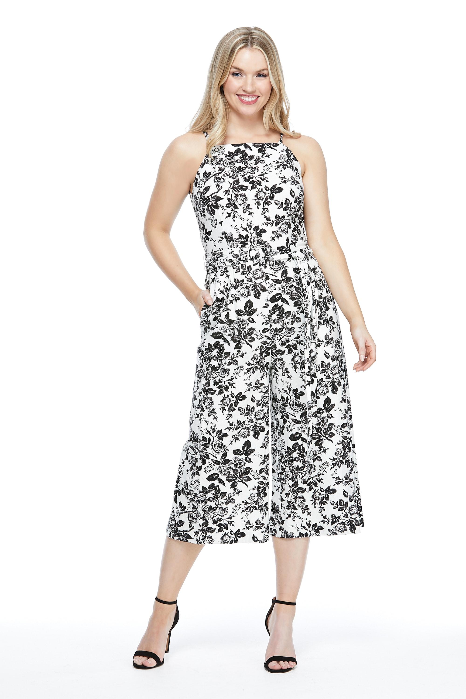 Black Tea Rose Halter Jumpsuit - White/Black - Front