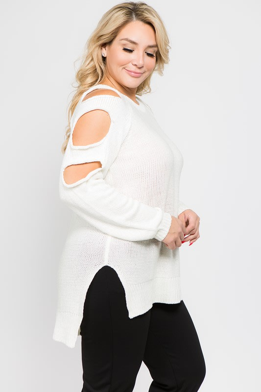 Fierce Cutout Sweater - Off White - Back