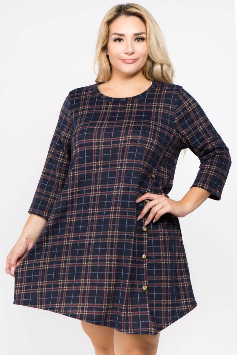 Old School Tunic Top - Navy - Front