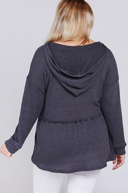 Girlish Hoodie/ Top - Charcoal - Back