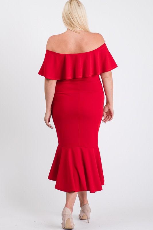 Turn Heads Ruffle Dress - Red - Back