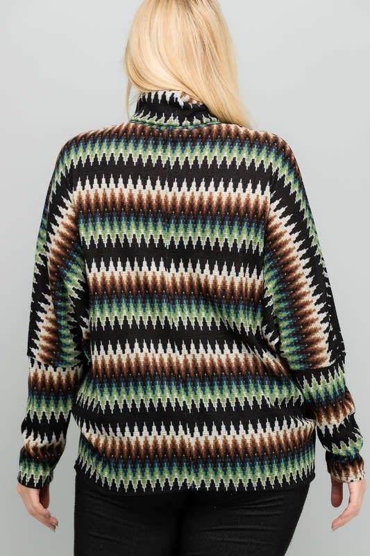 Vibrant Turtle Neck Top - Black - Back