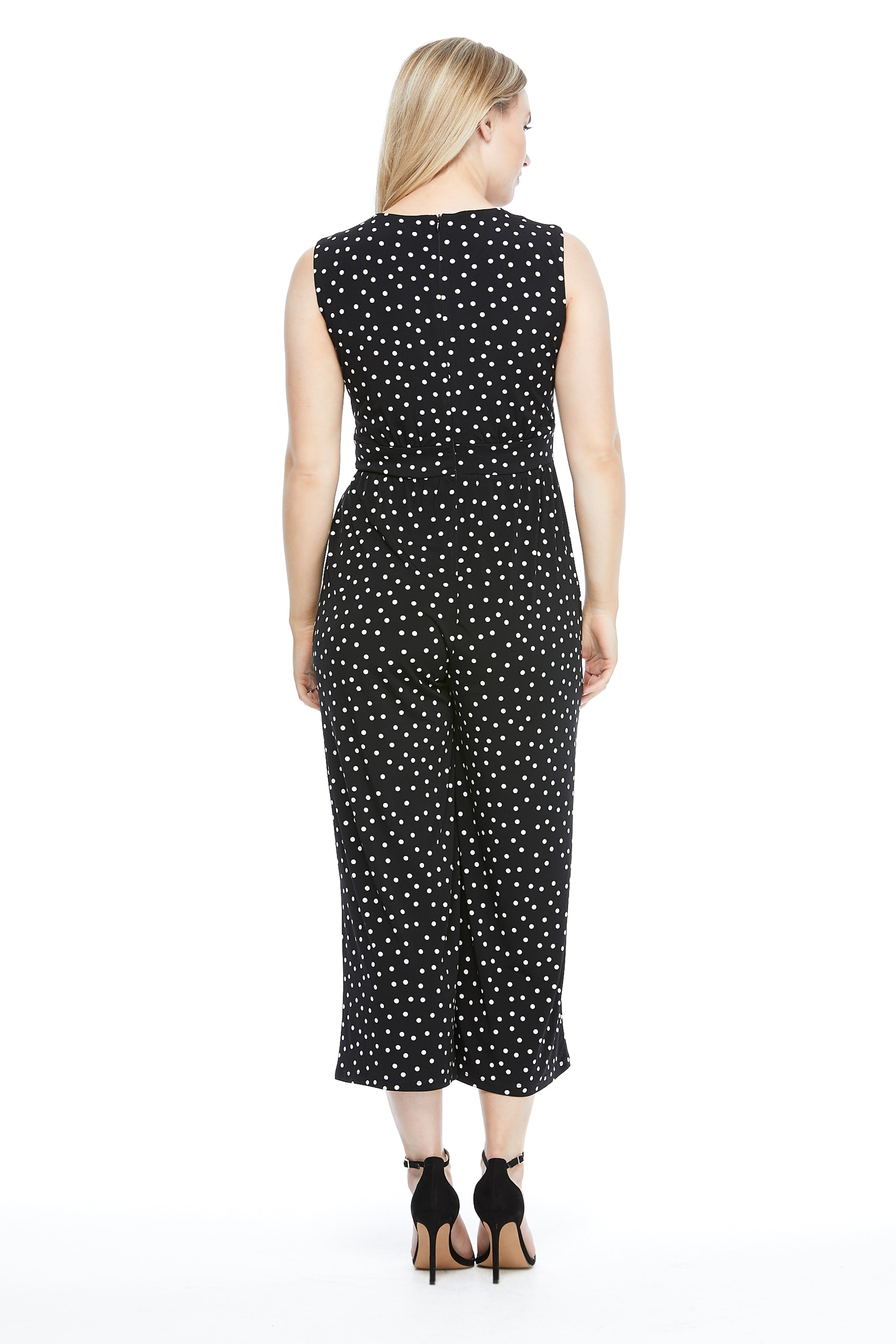 Annabelle Polka Dot Jumpsuit - Black/White - Back
