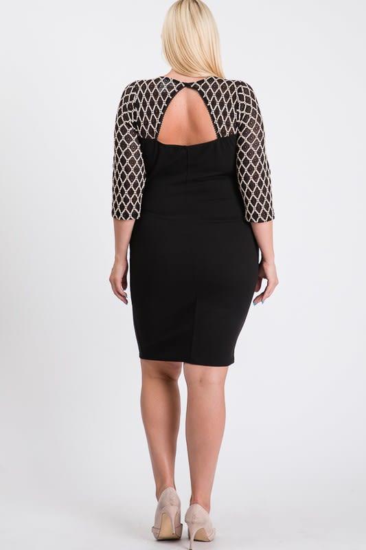 Formal But Sassy Bodycon Dress - Black - Back