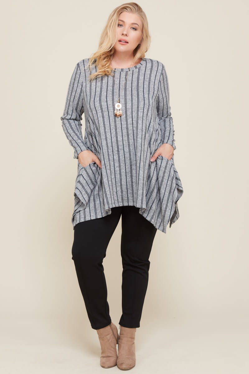 Let Loose Striped Tunic Top - Grey/Navy - Front