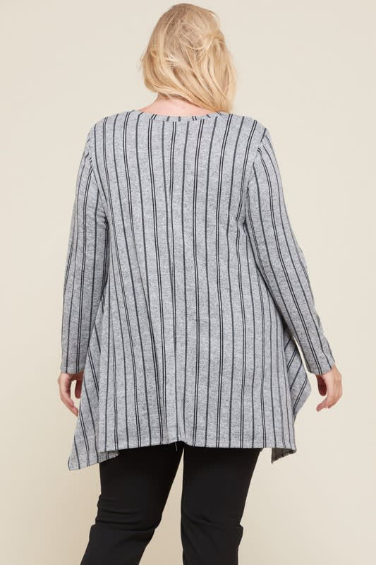 Let Loose Striped Tunic Top - Grey/Navy - Back