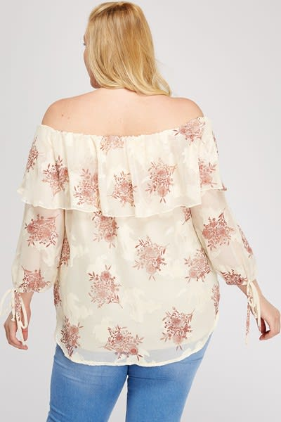 Simply Stand Out Off-Shoulder Top - Stone - Back